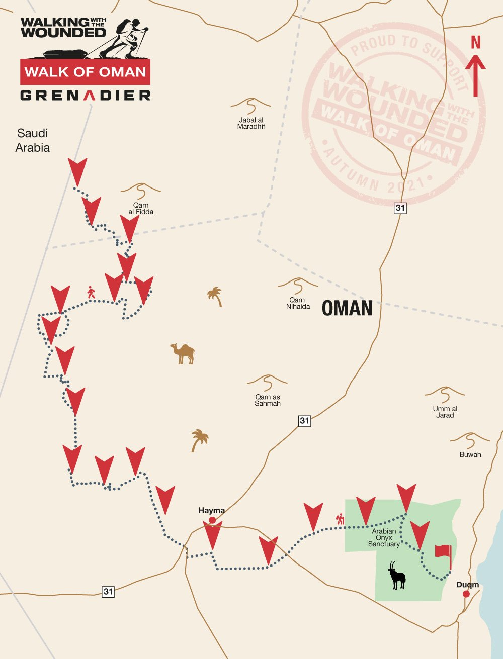 Walk of Oman route map